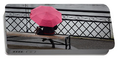 Woman With Pink Umbrella. Portable Battery Charger