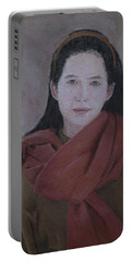 Woman With Scarf Portable Battery Charger