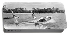 Women Water Skiers Waving Portable Battery Charger
