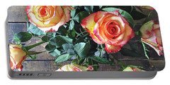 Wood And Roses Portable Battery Charger