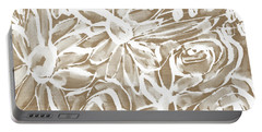 Wood And White Floral- Art By Linda Woods Portable Battery Charger by Linda Woods