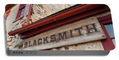 Wood Blacksmith Sign On Building Portable Battery Charger