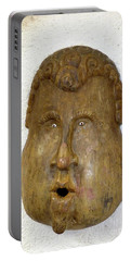 Portable Battery Charger featuring the photograph Wood Carved Face by Francesca Mackenney