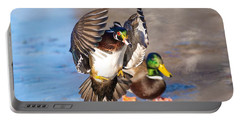 Wood Duck In Action Portable Battery Charger