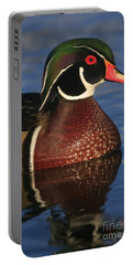 Wood Duck In Blue Portable Battery Charger