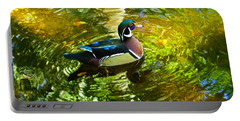 Wood Duck In Lights Portable Battery Charger