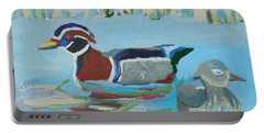 Portable Battery Charger featuring the painting Wood Duck Pair by Francine Frank