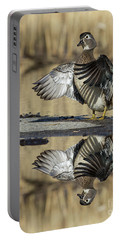 Portable Battery Charger featuring the photograph Wood Duck Reflection by Mircea Costina Photography