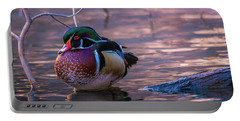 Portable Battery Charger featuring the photograph Wood Duck Resting by Bryan Carter