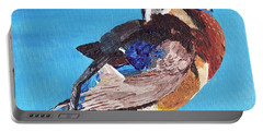 Portable Battery Charger featuring the painting Wood Duck by Rodney Campbell