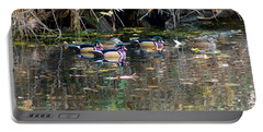 Wood Ducks In Autumn Portable Battery Charger by Sean Griffin
