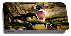 Wood Ducks In Autumn Waters Portable Battery Charger