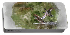 Wood Ducks In Flight Portable Battery Charger