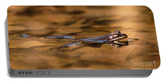 Portable Battery Charger featuring the photograph Wood Frog Reflecting On Golden Pond by Max Allen