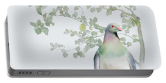 Portable Battery Charger featuring the painting Wood Pigeon by Ivana Westin