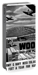 Portable Battery Charger featuring the painting Wood Shelters Our Planes - Ww2 by War Is Hell Store