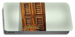 Portable Battery Charger featuring the photograph Wood Shuttered Window, Island Of Curacao by Kurt Van Wagner