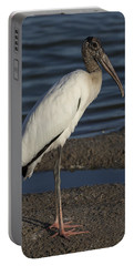 Wood Stork In The Final Light Of Day Portable Battery Charger
