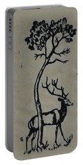 Woodcut Deer Portable Battery Charger by Shirley Heyn
