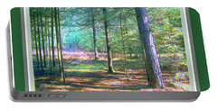 Portable Battery Charger featuring the photograph Wooded Path With Borders by Shirley Moravec