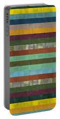 Wooden Abstract X  Portable Battery Charger by Michelle Calkins