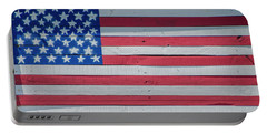 Portable Battery Charger featuring the photograph Wooden American Flag by Bill Cannon