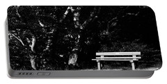 Wooden Bench In B/w Portable Battery Charger