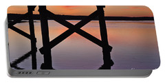 Wooden Bridge Silhouette At Dusk Portable Battery Charger