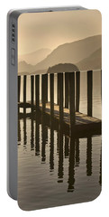 Wooden Dock In The Lake At Sunset Portable Battery Charger
