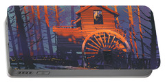 Portable Battery Charger featuring the painting Wooden House by Tithi Luadthong