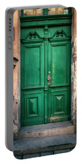 Wooden Ornamented Gate In Green Color Portable Battery Charger by Jaroslaw Blaminsky