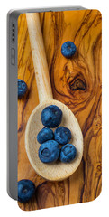 Wooden Spoon And Blueberries Portable Battery Charger by Garry Gay
