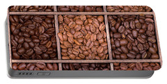 Wooden Storage Box Filled With Coffee Beans Portable Battery Charger
