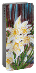 Portable Battery Charger featuring the painting Woodland Daffodils by Judith Rhue