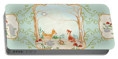 Woodland Fairy Tale - Aqua Blue Forest Gathering Of Woodland Animals Portable Battery Charger by Audrey Jeanne Roberts