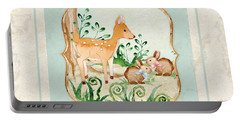 Woodland Fairy Tale - Deer Fawn Baby Bunny Rabbits In Forest Portable Battery Charger by Audrey Jeanne Roberts