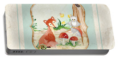 Woodland Fairy Tale - Fox Owl Mushroom Forest Portable Battery Charger by Audrey Jeanne Roberts
