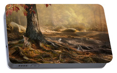 Portable Battery Charger featuring the photograph Woodland Mist by Robin-Lee Vieira