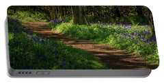 Woodland Path Lined By Bluebells Portable Battery Charger