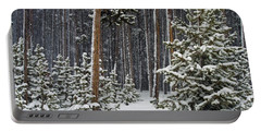 Woodland Snowstorm In Yellowstone Portable Battery Charger