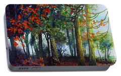 Portable Battery Charger featuring the painting Woodland Trail by Hailey E Herrera