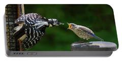 Woodpecker Feeding Bluebird Portable Battery Charger