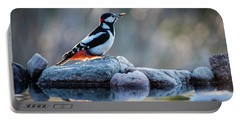 Woodpecker In Backlight Portable Battery Charger by Torbjorn Swenelius