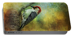 Woodpecker On Cherry Tree Portable Battery Charger