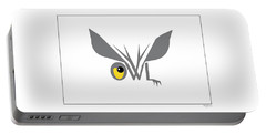Word Art - Great Horned Owl Portable Battery Charger by Betty Denise