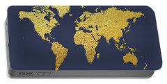World Map Gold Foil Portable Battery Charger