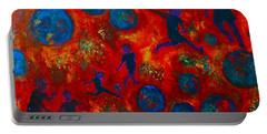 Portable Battery Charger featuring the painting World Soccer Dreams 2 by Claire Bull