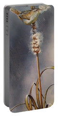 Wren And Cattails Portable Battery Charger