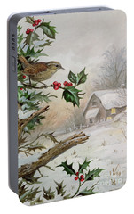 Wren In Hollybush By A Cottage Portable Battery Charger by Carl Donner