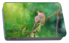 Wren In The Garden Bird Art Portable Battery Charger by Jai Johnson